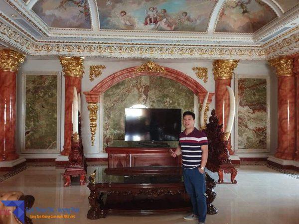 gạch thảm lát sảnh lâu đài đại gia Hoàng Dân tỉnh Ninh Bình