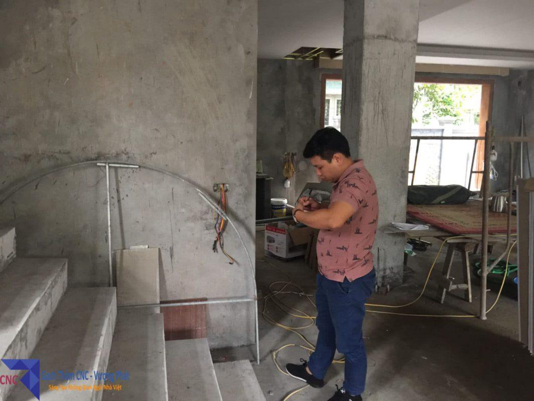 Gạch thảm lát phòng khách biệt thự đo đạc khảo sát thực tế Mr.Sơn Hoài Đức Hà Nội